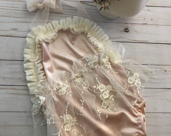 NEW release Milly sitter romper lace ivory and peach romper set sitter session limited time pre order FREE shipping newborn photoprop romper