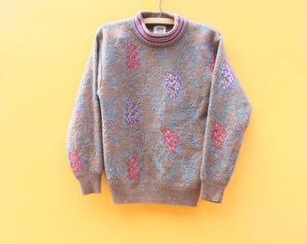 Vintage Sweater/ Womens Petite Small  [Fall Jumper Pullover Floral Knit Sweater Pastel Acrylic 80s] 28 inch waist
