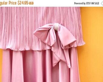 Vintage Dropwaist Evening Dress: Pink/ Women's Size Small 3-4 [Cute Retro Womens Pleated Eveningwear Dress Bow] 38 inch waist