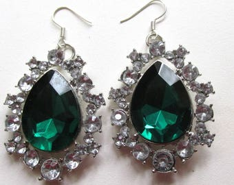 Crystal encrusted emerald green teardrop dangle hook earrings