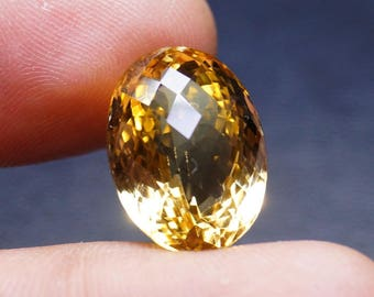 Oval Cut Stone - Citrine Gems - Natural Citrine Gems - 17.8x13x11 mm - Wholesale Price - Citrine Checker Cut