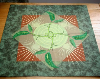 Altar Cloth or Tarot Cloth - Emergence, Earth Background - Pagan Altar Cloth - Wiccan Altar Cloth - Ostara(Spring Equinox) Wheel of the Year