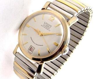 35% OFF SALE Rare Vintage Mens wristwatch, Rare LOUVIC 17j ,Swiss Incabloc antimagnetic, mechanical,day date,Gp, used 1950's, Runs E1146