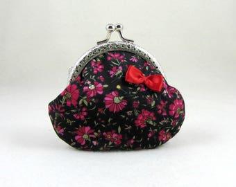 Change purse, Kiss lock purse, Floral coin purse, cotton coin pouch, clasp coin pouch, framed purse,