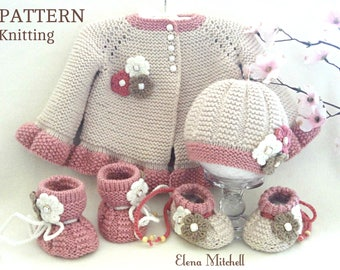 Knitting PATTERN Baby Jacket Baby Cardigan Garter Stitch Baby Hat Baby Shoes Baby Booties Newborn Girl Coat Knitting Cardigan Baby PATTERN