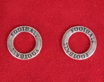 """5pc """"Football"""" charms in antique silver style (BC1247)"""