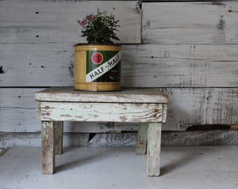 Vintage Wooden Stool, Antique Chippy Green And White Stool, Primitive  Wooden Step Stool,
