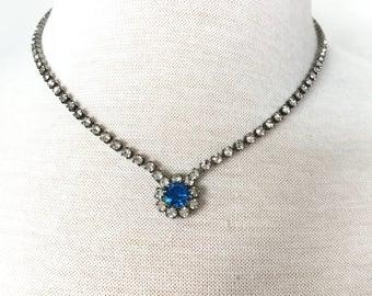 Vintage blue rhinestone necklace