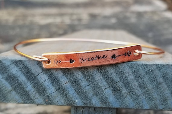 BREATHE: Hand-Stamped Rose Gold Simple Bangle
