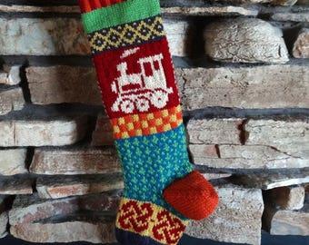 Christmas Stocking, Knit Christmas Stockings, Personalized Christmas Stocking, Knitted Christmas Stockings, Christmas Stockings, Red Train