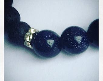 Blue Goldstone Diffuser Bracelet