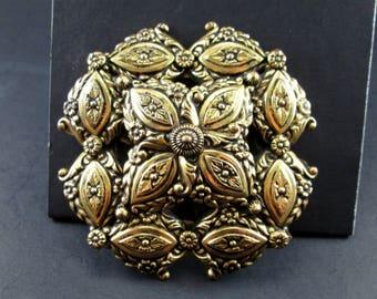 "Large Vintage Gold Tone Brooch Pin Leaves Flowers Vines 2 3/4"""
