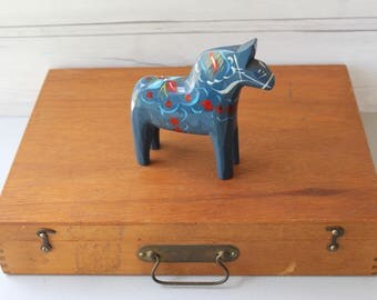 VintageSwedish Blue Dala Horse Souvenir, Swedish Folk Art Horse, Vintage Swedish Souvenir, Dalecarlian Horse