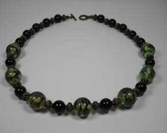 Tiger Stripe and Onyx Beaded Necklace