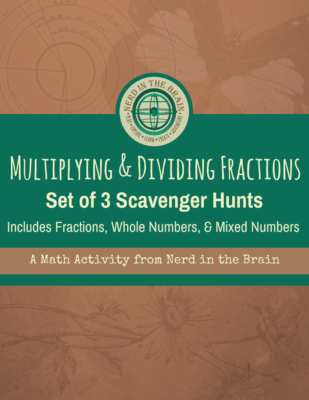 Multiplying and Dividing Fractions Scavenger Hunt Cover | Nerd in the Brain
