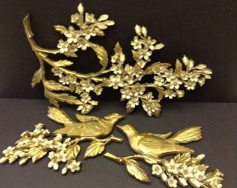 3 piece set Dart Ind,/ Syroco plastic birds and dogwood flowers 1967
