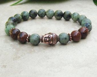 African Turquoise and Mahogany Obsidian Stretch Bracelet, Copper Buddha Bead, Namaste Mala Jewelry, Healing Bracelet, Tibetan, Spiritual