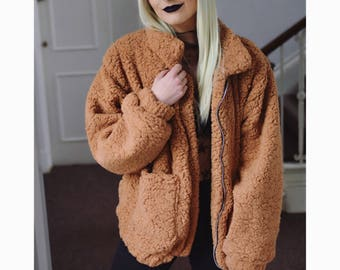 Brown/ black teddy bear faux fur shaggy bomber jacket coat