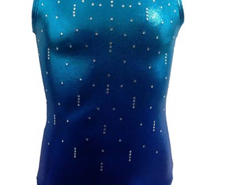 Blue rain Ombre Gymnastics Leotards for girls and youth