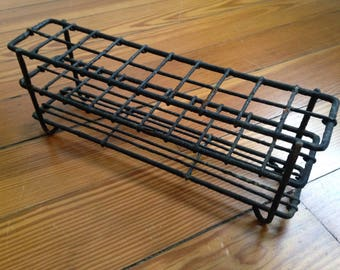 vintage metal test tube rack from 1960 laboratory , black
