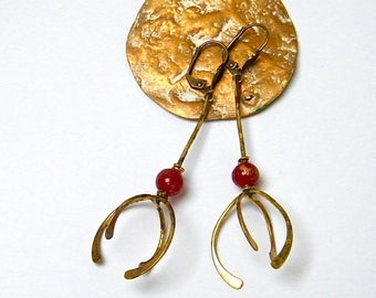 Vintage earrings - 60s - antique bronze - glass - gift idea for woman