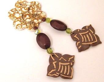Bohemian rustic earrings - cold porcelain, glass, acrylic - milk chocolate brown, green-