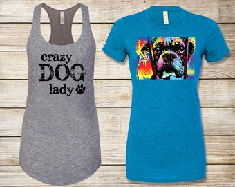 SALE! Dog Lover's T-Shirt Bundle: Choose Adoption Boxer Dog T-Shirt & Crazy Dog Lady Tank Top - Size Small
