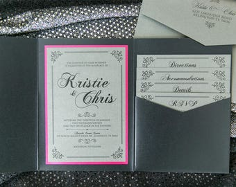 5x7 Grey, Pink, Silver Glitter Sparkly Girly Feminine Pocket Wedding Invitation with Enclosure Band, Monogram. Different Colors Options!