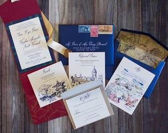 CUSTOM ORDER 5x7 Elegant Formal Navy Blue, Gold and Red Pocket Wedding Invitation with Vintage Map Envelope Liner & Address Printing