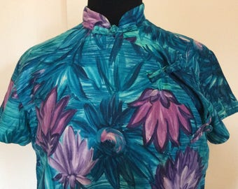 Vintage Hawaiian Cheongsam  Dress - M