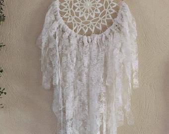 Dream catcher, dream catcher shabby white lace handmade
