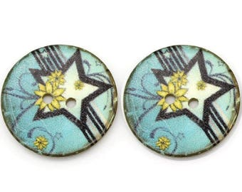 4 buttons round 30mm 4 hole sewing scrap blue yellow star coconut