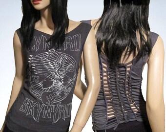 Lynyrd Skynyrd / Cut / Shredded / Slashed / Weaved / Band Tank Top / T Shirt / Size Small