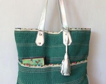 Kantha tote - silver leather tote - totebag - antique gudari - kantha bag - diaper bag - tote