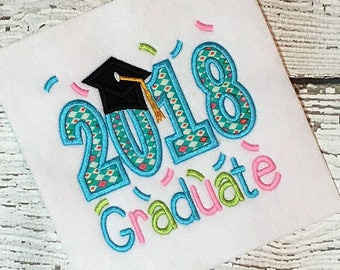 2018 Graduation Applique Design - Graduation Embroidery Design - Applique Design - Embroidery Design - Graduate Applique Design