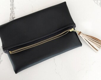 Mini Black Faux Leather Foldover Clutch - Gift for her, Birthday, Anniversary, Bridesmaid