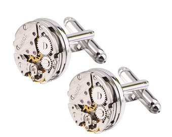 Steampunk Watchworks Cufflinks for French Cuffs, Silver Plated