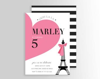 Modern Paris Invitation - Paris Birthday Invitation - Paris Themed Invitations - Paris Party Supplies- Paris Party Decor