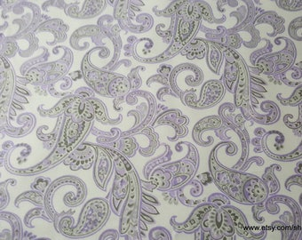 Flannel Fabric - Lilac Paisley - By the yard - 100% Cotton Flannel