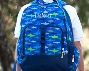 Shark backpack,Jaw-Some Backpack, Embroidered Backpack, Elementary backpack, FIsh backpack, personalized backpack