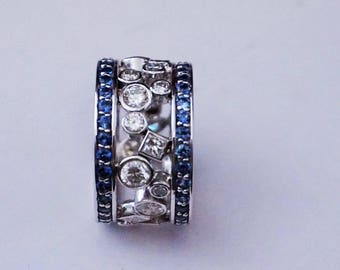 Blue Sapphire,Diamond wide band ,14k white gold