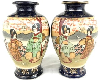 Striking Pair Of Vases, Japanese Vases, Satsuma Ware, 20th Century,  Baluster Form