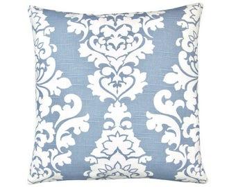 Pillow case BERLIN light blue white linen look Baroque ornament 50 x 50 cm