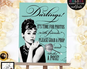 Breakfast at Tiffany's photo booth, grab a prop and strike a pose, printable,  CUSTOMIZABLE 8x10.