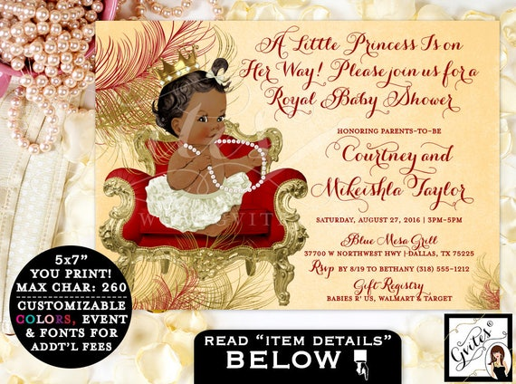Royal Baby Shower Invitation, princess gold red baby shower invitation, african american baby girl, ethnic baby invitations, customizable