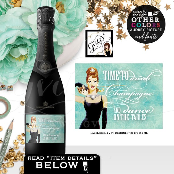 "Breakfast at Tiffany's PERSONALIZED Champagne Labels - Audrey Hepburn custom party stickers label favors, 4x3"" {6/Per Sheet}"