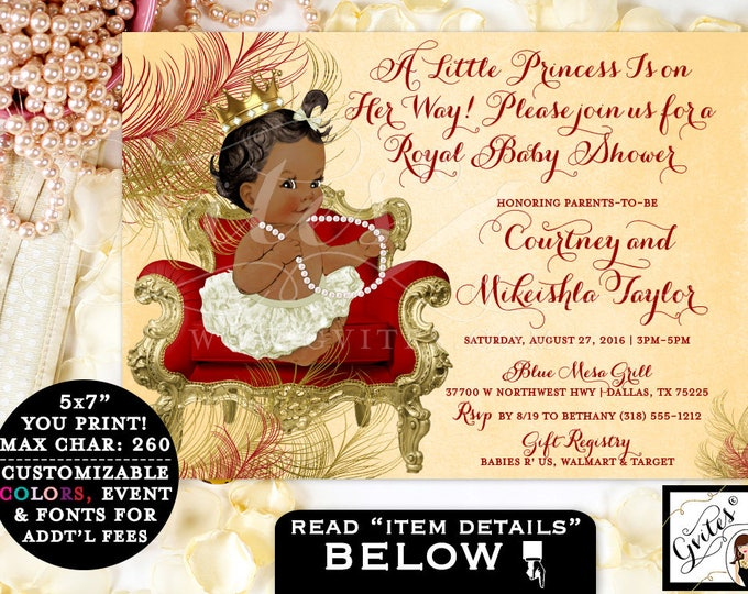 Red and Gold Baby Shower Invitation, princess beige red baby shower invitation, african american baby girl, ethnic invitations, digital file