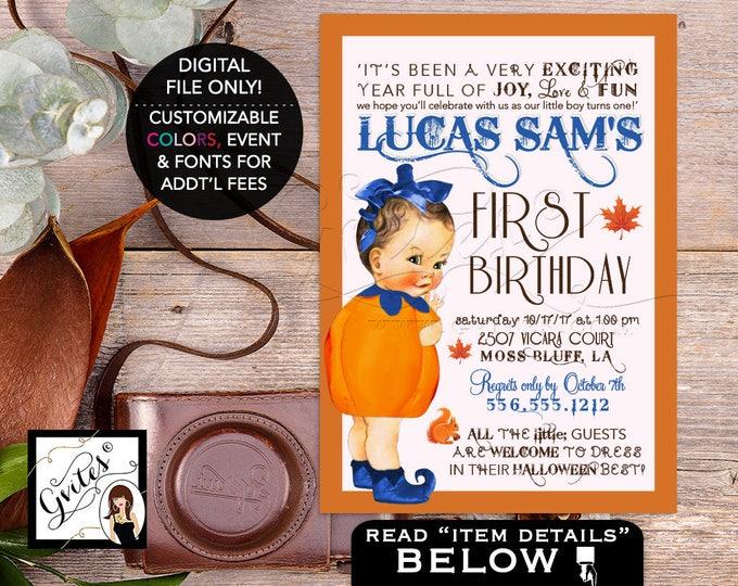 Our little Pumpkin is turning one, Pumpkin First Birthday boy, fall invites, halloween baby birthday, PRINTABLE, DIY Digital File, 5x7