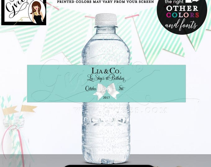 """First Birthday water bottle labels, stickers, tags, decorations, printables, water bottle wrappers, favors gifts, breakfast 8x2"""" 5 Per/Sheet"""