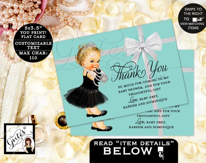 "Breakfast at Tiffany's baby and co baby shower thank you cards, thank you card vintage baby girl, DIGITAL {3.5x5"" 4 Per/Sheet} #BATGBB102"